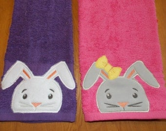 Easter Rabbit Personalized Towel Sets, Easter Gift, Personalized Birthday Gift, Easter Decor, Personalized Bath Towel, Easter Bunny