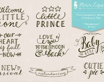 Photography Words Overlays (15) - newborn - 8pcs - INSTANT DOWNLOAD