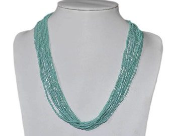Textured Turquoise Multi-Strand Seed Beads Necklace with silver plated findings, Nepal, N150