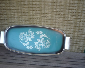 Vintage Metal Chrome Serving Tray, Turquoise Tray with Silver Etched Rose Detail