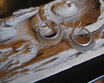 Tribal silver hoops earrings - sterling silver