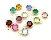 Birthstones Add On: Swarovski Birthstone Channel Drop Charm Gold Plated