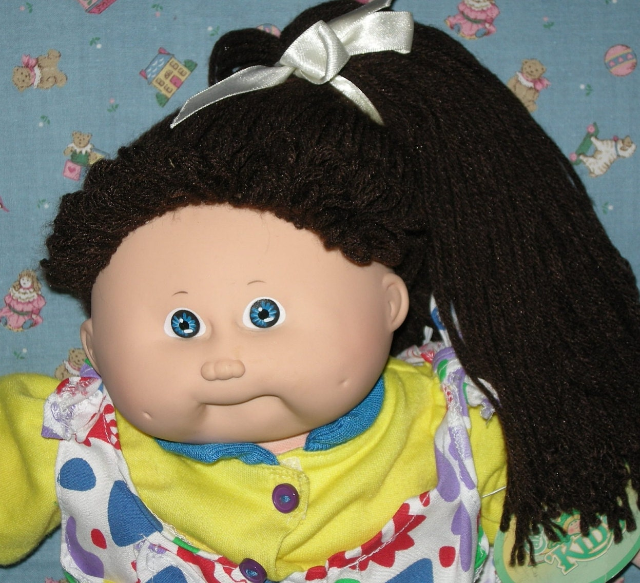 1987 Cabbage Patch Kids Girl Lovely Dark Brown Side Ponytail