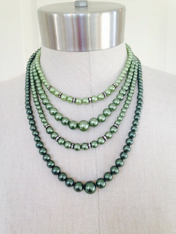 vintage green pearl four strand with rhinestone accents necklace, mad men inspired, fall jewelry