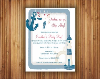 Anchors are Up Baby Shower Invitation