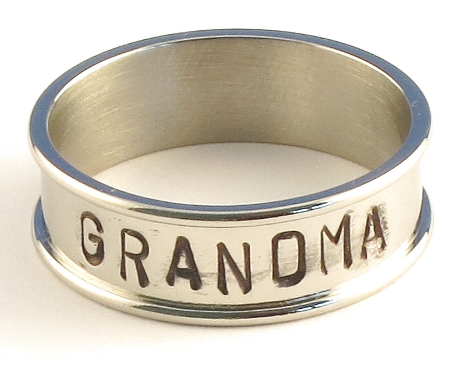 GRANDMA - Personalized Hand Stamped Customized Stainless Steel Channel Band Name Ring 7mm - Available in Ring Sizes 3-14