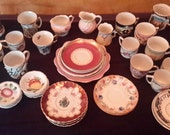 Box Lot of Mixed Demi Cups and Saucers