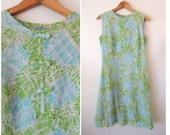60s Bow Front Dress / Bright Blue Green and White Dress / Mod 60s Dress Abstract Sketch Print / Sleeveless A-Line Dress / Eve Carver / Small