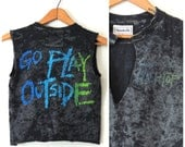 Sporty 90s Reebok Black Top Go Play Outside Marbled Black Cotton & Colorful Bright Neon Distressed Crop Top Tank / XS Small