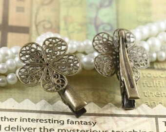 10PCS antique bronze 25mm hair clip with flower filigree components- X07188