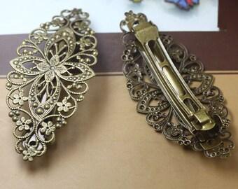 5PCS antique bronze 35x80mm hair barrette with vintage filigree componnets- x07296