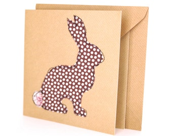 Rabbit blank greetings card handmade with vintage brown polka dot bunny & floral fabric cotton tail. Blank inside
