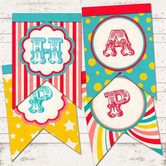 Printable Vintage Birthday Banner ~ Circus birthday double tails banner vintage inspired retro