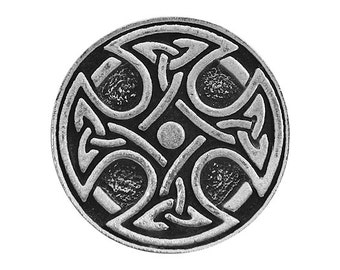 2 Round Celtic Cross 15/16 inch (24 mm) Pewter Buttons
