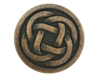 6 Celtic Knot 7/8 inch ( 22 mm ) Metal Buttons Antique Brass Color