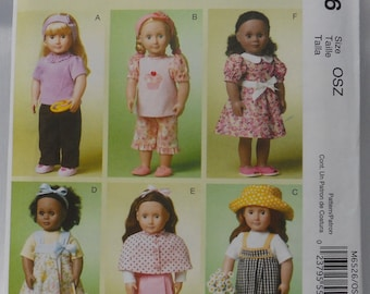 """McCalls M6526 Sewing Pattern for 18"""" Doll Clothes, Uncut"""