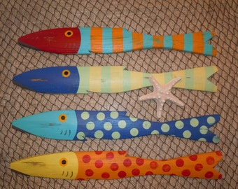 School of 4 Hand Painted Picket FISH Art Reclaimed Wood Beach Cottage Cabin Decor