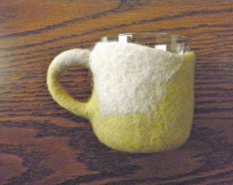 Sage Wool Glass Holder & Glass- Exquisite Cup Holder Coasters, felted wool, Slow design. momoish made.
