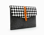 """20%OFF! Black and White Grid Macbook Case Felt 11""""13""""15"""" MacBook Air laptop Sleeve Loptop Case Laptop Bag with Front Pocket Custom MadeE2029"""