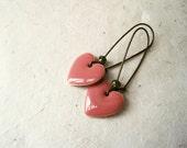 Pink Heart Earrings. Handmade Dusty Rose Pink Earrings. Glossy Pink Enamel Heart Charm Long Earrings. Sweet Romantic Gifts for Her.