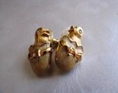 Easter Egg and Chick Goldtone Stud Earrings, Vintage Post Earrings