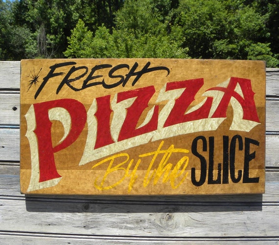 Pizza sign hand painted wooden restaurant decor fp
