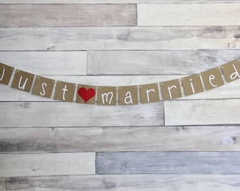 JUST MARRIED Wedding Banner Sign - Backdrop Car Sign