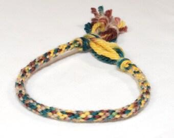 Kumihimo Mens Bracelet Cotton Fiber Yellow, Brown & Green Mans Jewelry