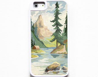 iPhone 5 Case. iPhone 5S Case. Silicone Lined Tough Case. Vintage Paint By Numbers Mountains. Case for iPhone 5. PBN.