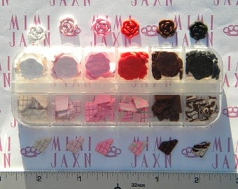 120pcs Polymer Clay Miniature Chocolate and Roses DIY Set