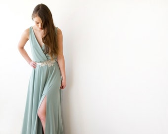 Green sage maxi gown with slit, Maxi Sage bridesmaids gown