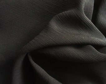 Yo-yo Crinkle Chiffon FC11418 Black 60 Inch Fabric By the Yard