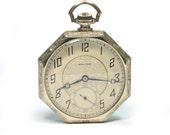 Antique 1930's Waltham 14K White Gold Pocket Watch