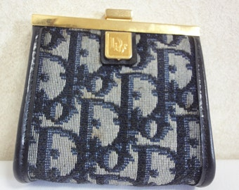 80's Christian Dior Vintage navy monogram coin case with gold tone kiss lock closure.