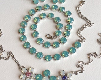 Swarovski Crystal 8.5mm Necklace, - Three Flower Pendant, Flower Earrings   Pacific & White Opals - Designer Inspired - FREE SHIPPING