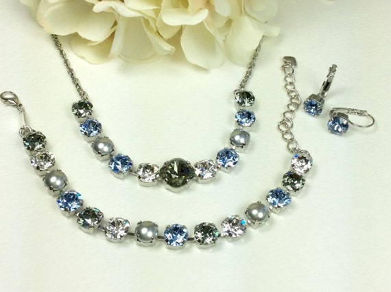 Swarovski Crystal Necklace 12MM/8.5mm - Lt. Sapphire, Crystal, Black Diamond, Dove Grey Pearls   Sparkle & Shimmer -  FREE SHIPPING