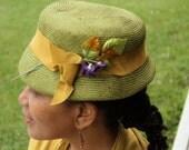 Ladies' Green Straw Hat, Newly Hand Blocked -1950's New Vintage Look-Parasisal Straw-Purple vintage violet trim