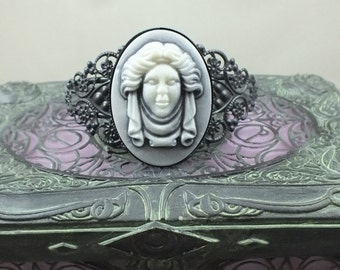 Madame Leota Victorian Cameo Cuff Bracelet Black Tombstone Bust Disney Haunted Mansion for Halloween Costume