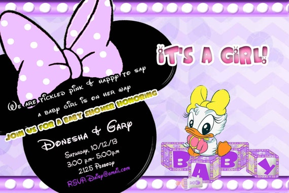Daisy Duck Baby Shower Invitation in lavender and yellow