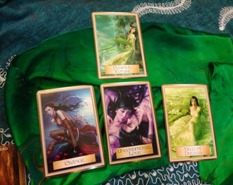 Golden Path Oracle Card: 4-card reading plus positive affirmations for meditation