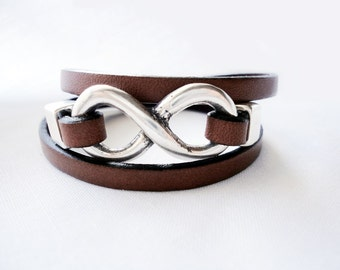Mens Infinity Leather Bracelet, Triple Wrap, charm bracelet, Mens Jewelry, Womens Bracelet,