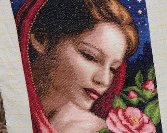 Hand Embroidery Tapestry Gobelin Girl with camelia, home decor,wall decor,womans portrait