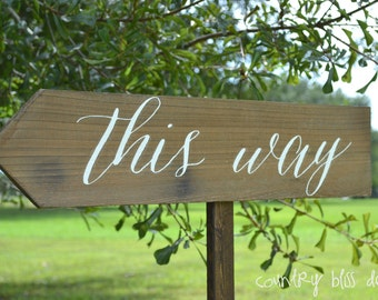 Custom Wedding Sign, Wooden Wedding Sign, This Way, Wedding Sign, Reception sign, Arrow Sign, Wedding Name Signs, Beach Wedding