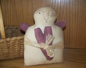 Primitive Valentine Angel Doll/Shelf Sitter/Fabric Art