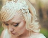 Birdcage Veil, Ivory English Net, Merry Widow Veiling, Bridal Birdcage Veil Headband, Wide Net Veil, Lace Headband Veil, Pearl Lace - 109BC