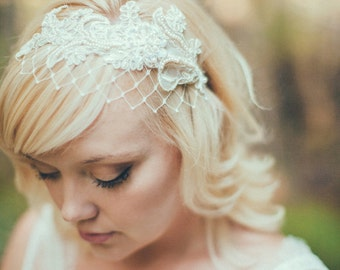 Birdcage Veil Ivory English Net Merry Widow Veiling Bridal Headband