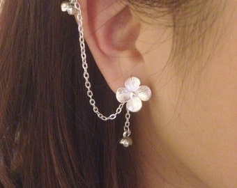 Silver clover violet bouquet cherry blossom studs with double chain cartilage piercing, ear stud, double piercing, clip on