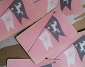 Vintage Shabby Chic Playing Cards  Pink Horses Flags Derby Princess Pony Equestrian