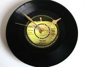 "The Beatles Vinyl Record CLOCK made from recycled ""Something"" 7"" record. Great christmas gift for Beatles fan black green apple dad men guys"