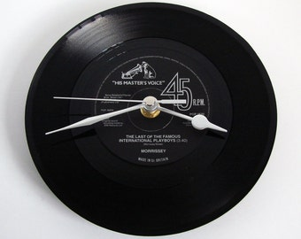 """MORRISSEY CLOCK """"Last Of The Famous International Playboys"""" 7inch vinyl record single The Smiths black and silver gift for guys bachelor pad"""